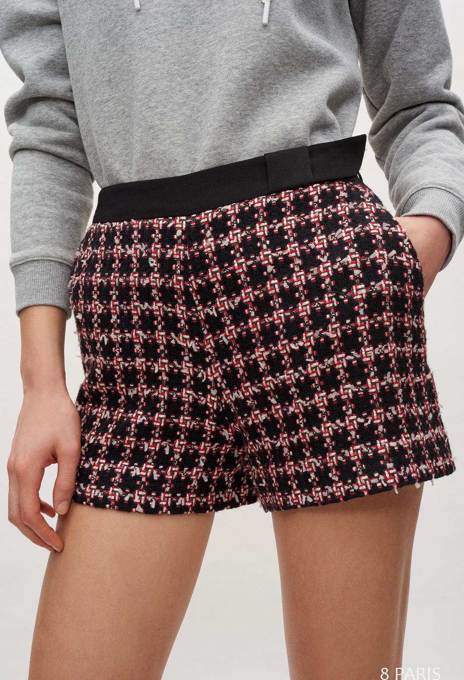 Short taille haute en tweed