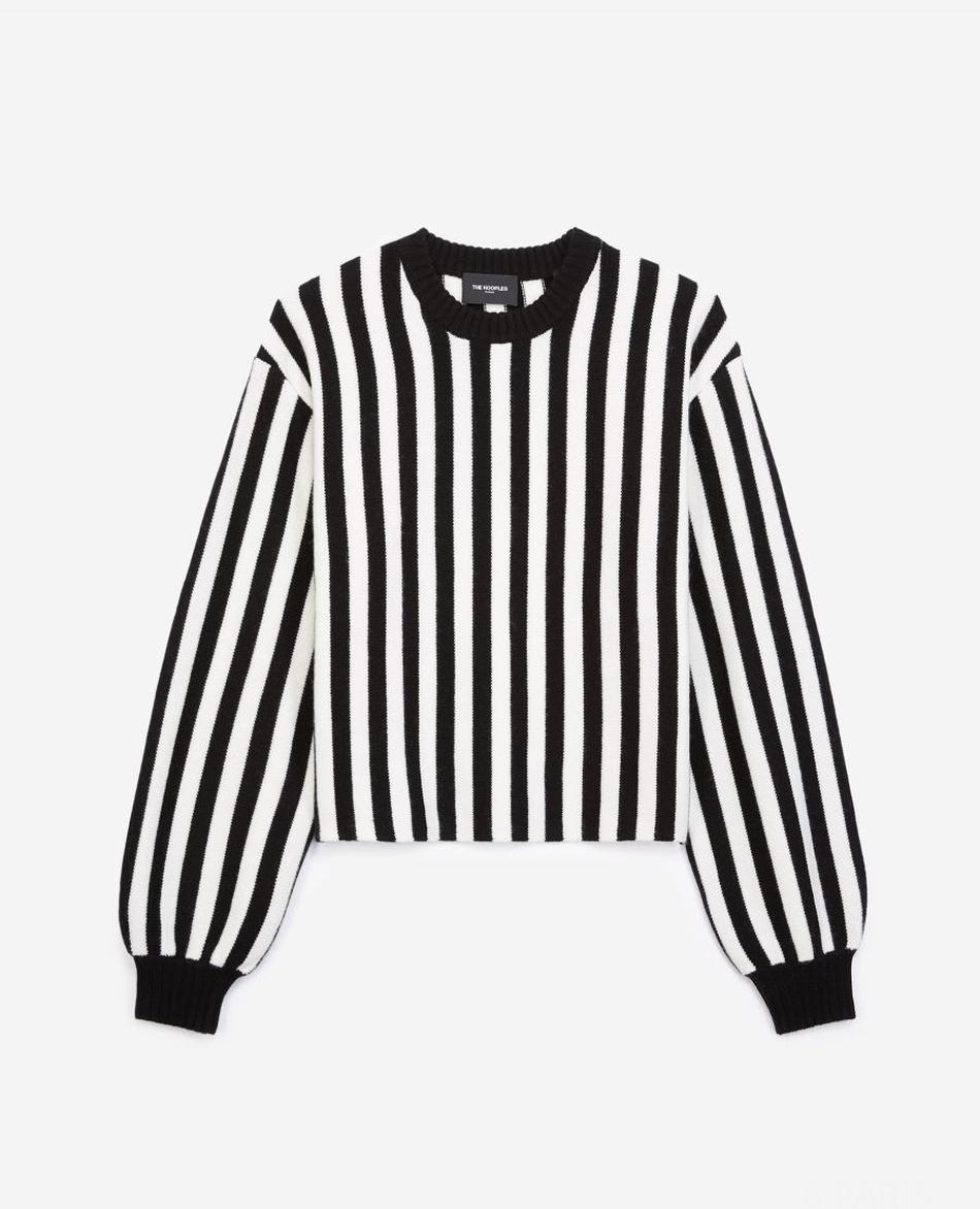Pull col rond rayures noires