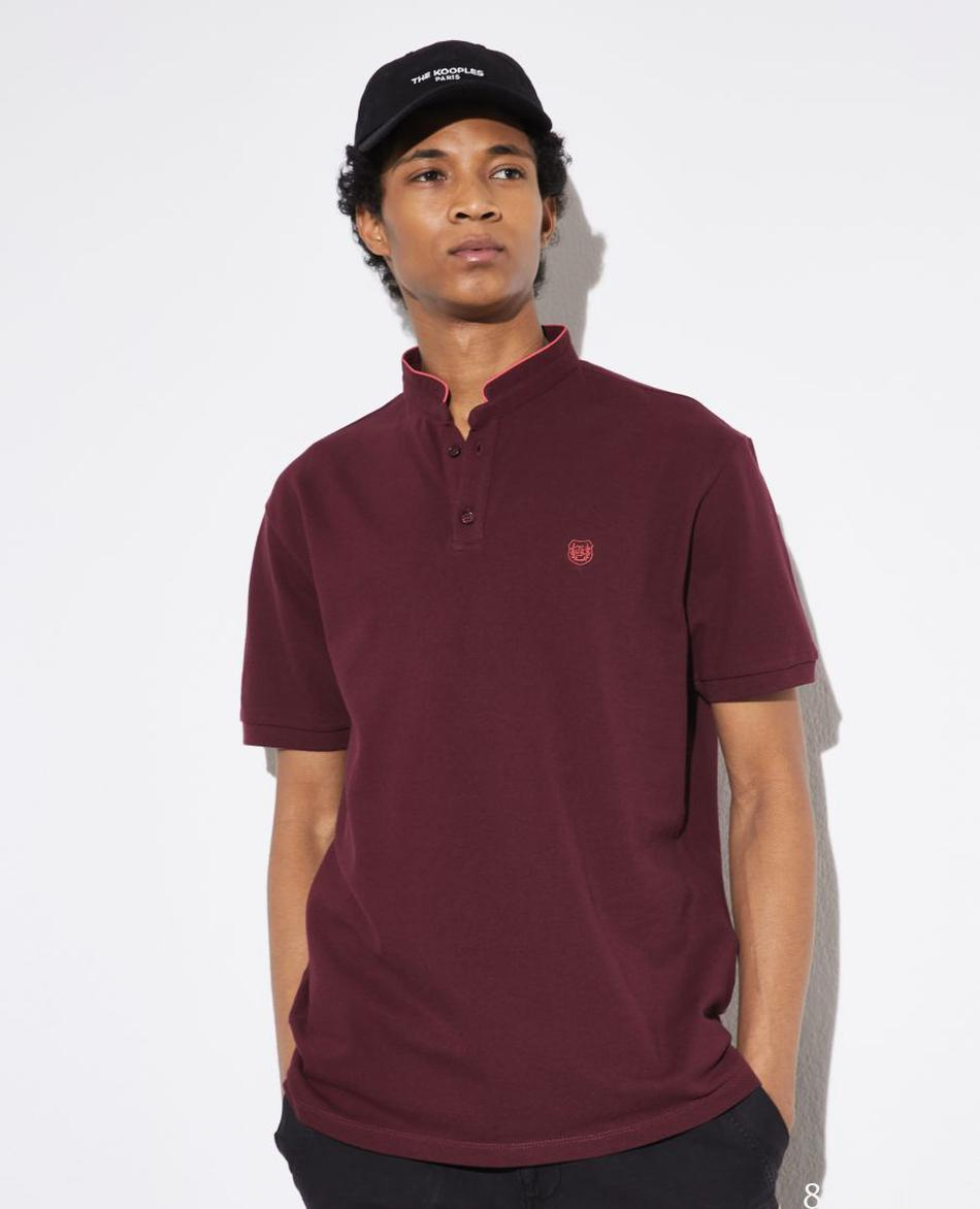 Polo bordeaux col officier broderie orange