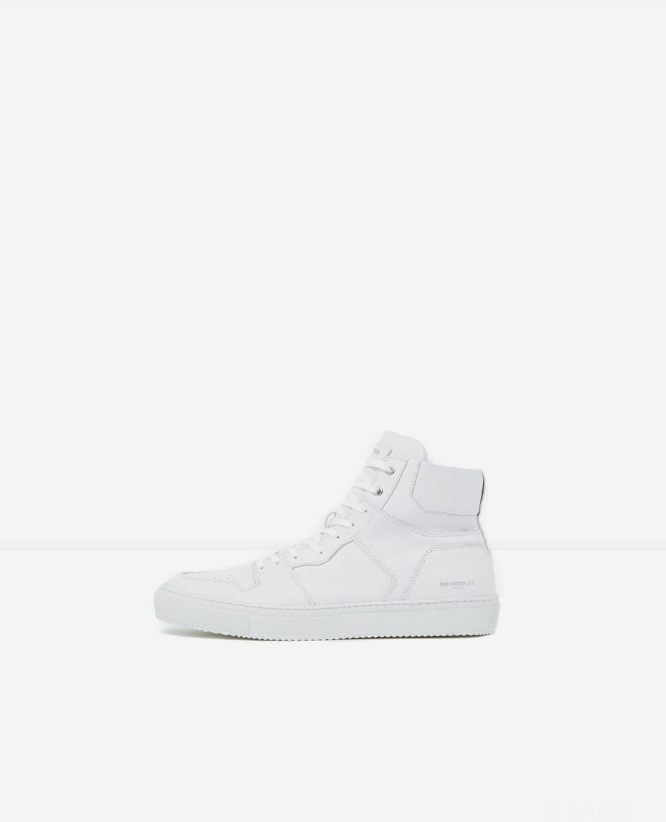 Baskets blanches cuir logo The Kooples